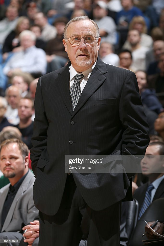 Head Coach <a gi-track='captionPersonalityLinkClicked' href=/galleries/search?phrase=Rick+Adelman&family=editorial&specificpeople=209189 ng-click='$event.stopPropagation()'>Rick Adelman</a> of the Minnesota Timberwolves during the game between the Minnesota Timberwolves and the Orlando Magic on November 7, 2012 at Target Center in Minneapolis, Minnesota.