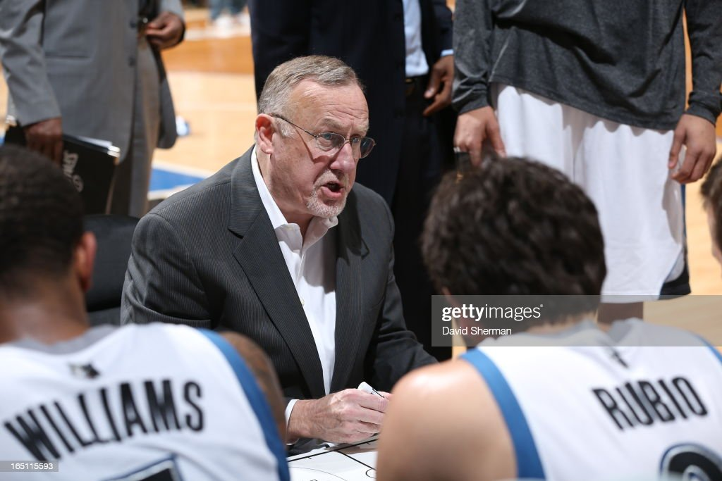 Head Coach Rick Adelman of the Minnesota Timberwolves gathers his team during the game between the Memphis Grizzlies and the Minnesota Timberwolves on March 30, 2013 at Target Center in Minneapolis, Minnesota.