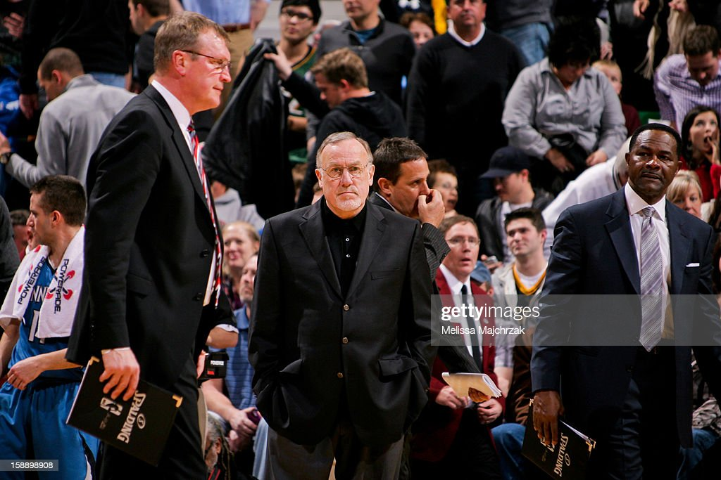 Head Coach Rick Adelman of the Minnesota Timberwolves looks on as his team plays the Utah Jazz at Energy Solutions Arena on January 2, 2013 in Salt Lake City, Utah.