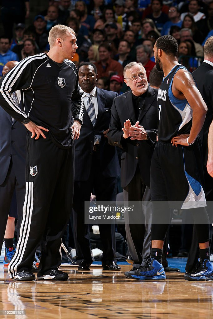 Head Coach Rick Adelman of the Minnesota Timberwolves speaks with Derrick Williams #7 during a game against the Oklahoma City Thunder on February 22, 2013 at the Chesapeake Energy Arena in Oklahoma City, Oklahoma.