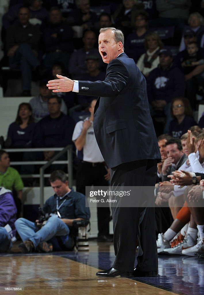 Head coach Rick Barnes of the Texas Longhorns calls out some instructions against the the Kansas State Wildcats during the first half on January 30, 2013 at Bramlage Coliseum in Manhattan, Kansas.