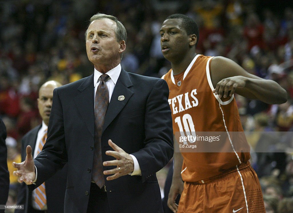 Head coach <a gi-track='captionPersonalityLinkClicked' href=/galleries/search?phrase=Rick+Barnes&family=editorial&specificpeople=728815 ng-click='$event.stopPropagation()'>Rick Barnes</a> of the Texas Longhorns gives support to his team during a game against the Iowa State Cyclones in the quarterfinals of the Big 12 Basketball Tournament March 8, 2012 at Sprint Center in Kansas City, Missouri. Texas won 71-65.