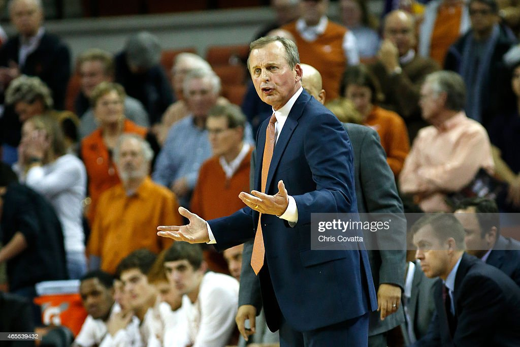 Head coach <a gi-track='captionPersonalityLinkClicked' href=/galleries/search?phrase=Rick+Barnes&family=editorial&specificpeople=728815 ng-click='$event.stopPropagation()'>Rick Barnes</a> of the Texas Longhorns reacts as his team plays Baylor Bears at the Frank Erwin Center on March 2, 2015 in Austin, Texas.