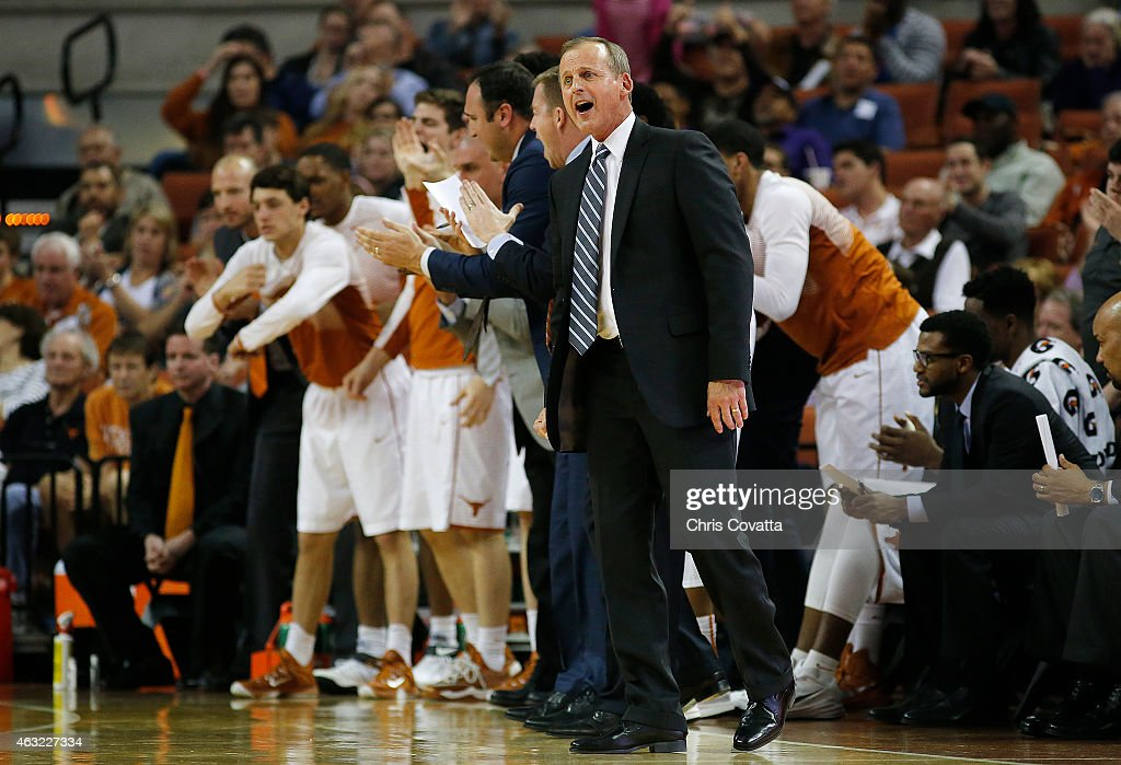 Head coach <a gi-track='captionPersonalityLinkClicked' href=/galleries/search?phrase=Rick+Barnes&family=editorial&specificpeople=728815 ng-click='$event.stopPropagation()'>Rick Barnes</a> of the Texas Longhorns reacts as his team plays the TCU Horned Frogs at the Frank Erwin Center on February 11, 2015 in Austin, Texas.