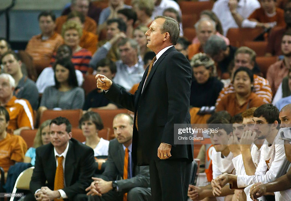Head coach <a gi-track='captionPersonalityLinkClicked' href=/galleries/search?phrase=Rick+Barnes&family=editorial&specificpeople=728815 ng-click='$event.stopPropagation()'>Rick Barnes</a> of the Texas Longhorns reacts as his team plays the Iowa State Cyclones at the Frank Erwin Center on February 21, 2015 in Austin, Texas.