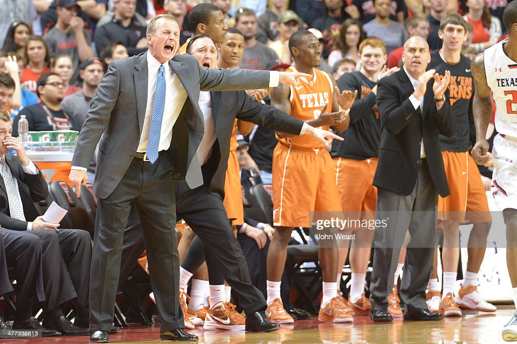 Head coach <a gi-track='captionPersonalityLinkClicked' href=/galleries/search?phrase=Rick+Barnes&family=editorial&specificpeople=728815 ng-click='$event.stopPropagation()'>Rick Barnes</a> of the Texas Longhorns reacts during game action against the Texas Tech Red Raiders on March 8, 2014 at United Spirit Arena in Lubbock, Texas. Texas Tech defeated Texas 59-53.