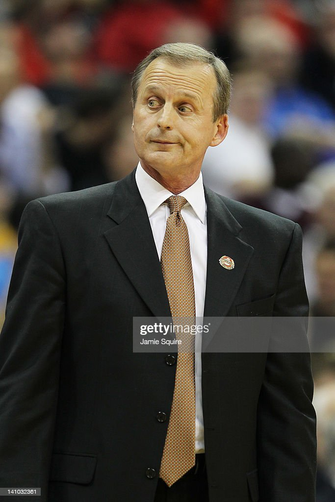 Head coach <a gi-track='captionPersonalityLinkClicked' href=/galleries/search?phrase=Rick+Barnes&family=editorial&specificpeople=728815 ng-click='$event.stopPropagation()'>Rick Barnes</a> of the Texas Longhorns reacts in the first half against the Texas Longhorns during the semifinals of the 2012 Big 12 Men's Basketball Tournament at Sprint Center on March 9, 2012 in Kansas City, Missouri.