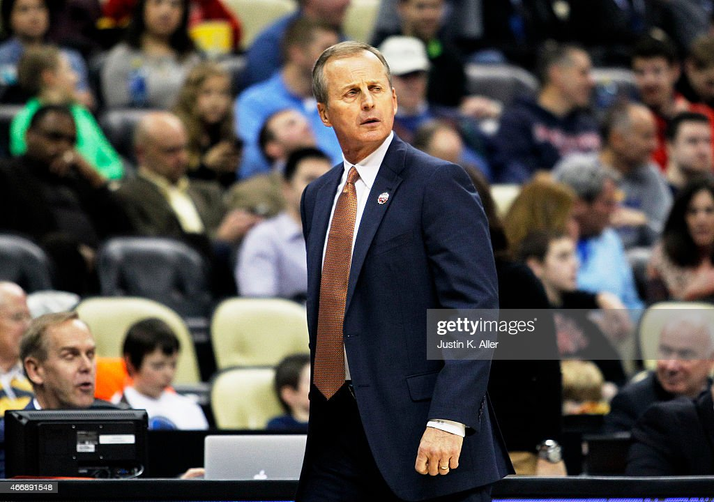 Head coach <a gi-track='captionPersonalityLinkClicked' href=/galleries/search?phrase=Rick+Barnes&family=editorial&specificpeople=728815 ng-click='$event.stopPropagation()'>Rick Barnes</a> of the Texas Longhorns reacts in the first half against the Butler Bulldogs during the second round of the 2015 NCAA Men's Basketball Tournament at Consol Energy Center on March 19, 2015 in Pittsburgh, Pennsylvania.
