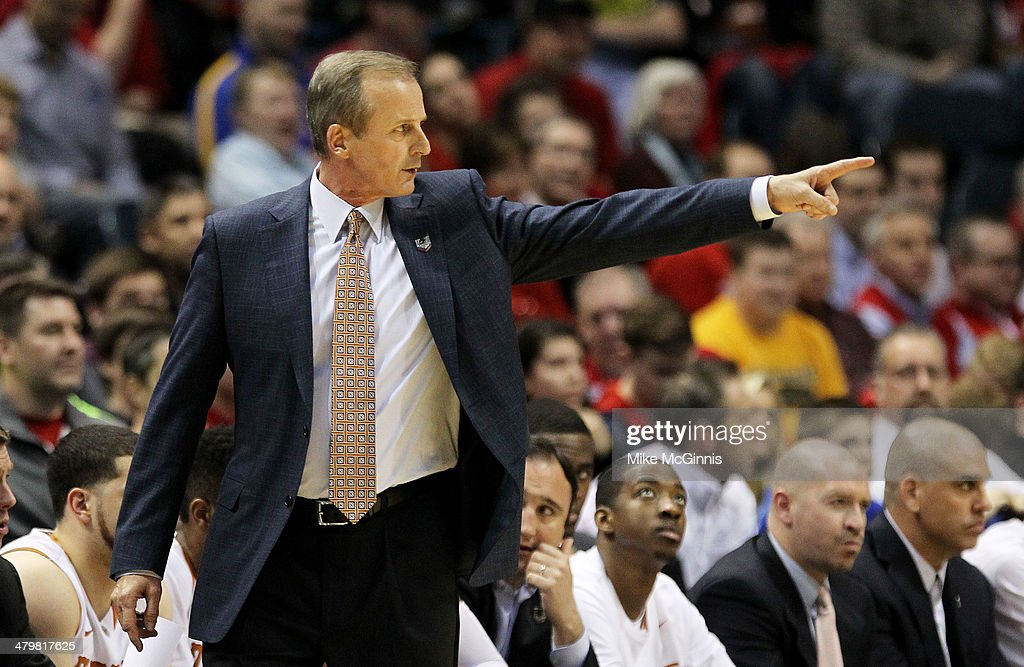 Head coach <a gi-track='captionPersonalityLinkClicked' href=/galleries/search?phrase=Rick+Barnes&family=editorial&specificpeople=728815 ng-click='$event.stopPropagation()'>Rick Barnes</a> of the Texas Longhorns reacts in the first half against the Arizona State Sun Devils during the second round of the 2014 NCAA Men's Basketball Tournament at BMO Harris Bradley Center on March 20, 2014 in Milwaukee, Wisconsin.