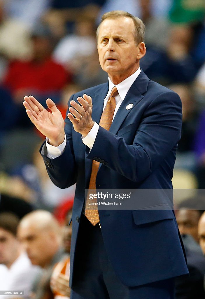 Head coach <a gi-track='captionPersonalityLinkClicked' href=/galleries/search?phrase=Rick+Barnes&family=editorial&specificpeople=728815 ng-click='$event.stopPropagation()'>Rick Barnes</a> of the Texas Longhorns reacts in the second half against the Butler Bulldogs during the second round of the 2015 NCAA Men's Basketball Tournament at Consol Energy Center on March 19, 2015 in Pittsburgh, Pennsylvania.
