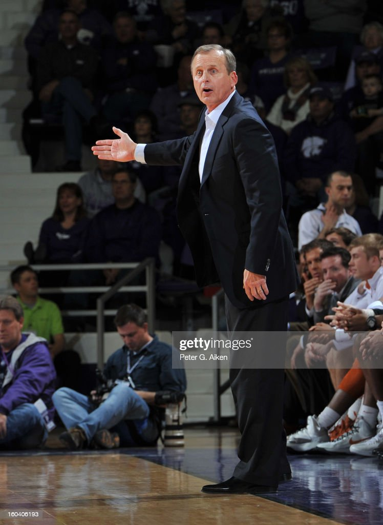 Head coach <a gi-track='captionPersonalityLinkClicked' href=/galleries/search?phrase=Rick+Barnes&family=editorial&specificpeople=728815 ng-click='$event.stopPropagation()'>Rick Barnes</a> of the Texas Longhorns reacts to a call during the first half against the Kansas State Wildcats on January 30, 2013 at Bramlage Coliseum in Manhattan, Kansas. Kansas State defeated Texas 83-57.