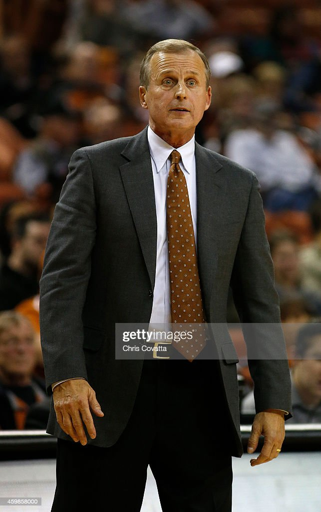 Head coach <a gi-track='captionPersonalityLinkClicked' href=/galleries/search?phrase=Rick+Barnes&family=editorial&specificpeople=728815 ng-click='$event.stopPropagation()'>Rick Barnes</a> of the Texas Longhorns reacts to the play against the Texas-Arlington Mavericks at the Frank Erwin Center on December 2, 2014 in Austin, Texas.