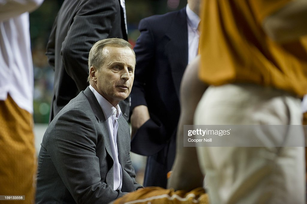 Head coach Rick Barnes of the University of Texas Longhorns has words with his team during a timeout against the Baylor University Bears on January 5, 2013 at the Ferrell Center in Waco, Texas.