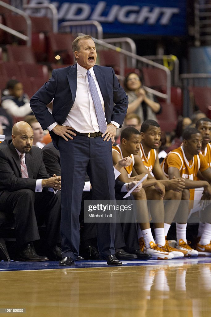 Head coach <a gi-track='captionPersonalityLinkClicked' href=/galleries/search?phrase=Rick+Barnes&family=editorial&specificpeople=728815 ng-click='$event.stopPropagation()'>Rick Barnes</a> of the University of Texas Longhorns reacts during the game against the Temple University Owls on December 7, 2013 at the Wells Fargo Center in Philadelphia, Pennslyvania.