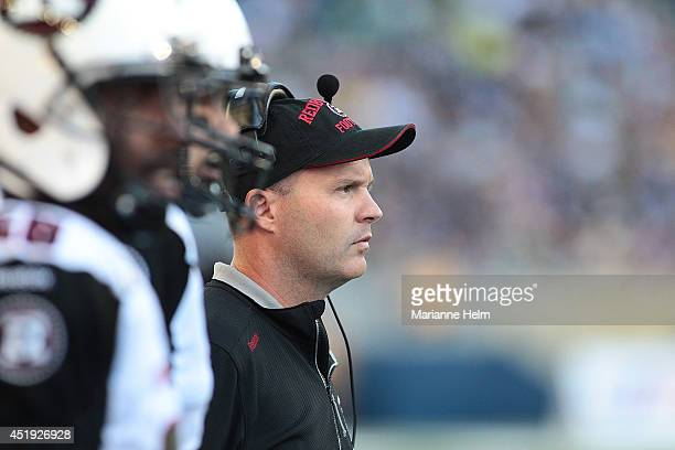 Head coach Rick Campbell of the Ottawa RedBlacks watches the action in a CFL game against the Winnipeg Blue Bombers at Investors Group Field on July...