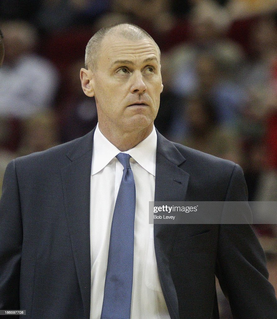 Head coach <a gi-track='captionPersonalityLinkClicked' href=/galleries/search?phrase=Rick+Carlisle&family=editorial&specificpeople=206971 ng-click='$event.stopPropagation()'>Rick Carlisle</a> of the Dallas Mavericks looks up at the scoreboard in the fouth quarter at Toyota Center on November 1, 2013 in Houston, Texas.