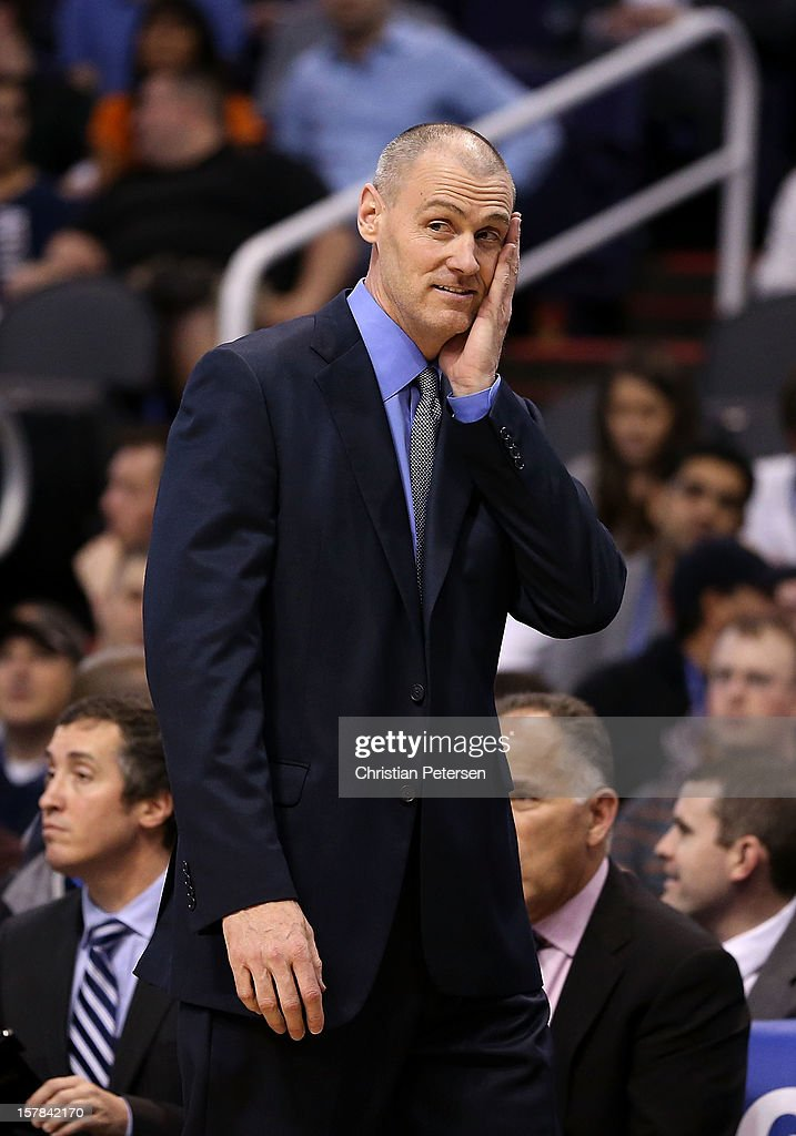 Head coach <a gi-track='captionPersonalityLinkClicked' href=/galleries/search?phrase=Rick+Carlisle&family=editorial&specificpeople=206971 ng-click='$event.stopPropagation()'>Rick Carlisle</a> of the Dallas Mavericks reacts during the NBA game against the Phoenix Suns at US Airways Center on December 6, 2012 in Phoenix, Arizona. The Mavericks defeated the Suns 97-94.