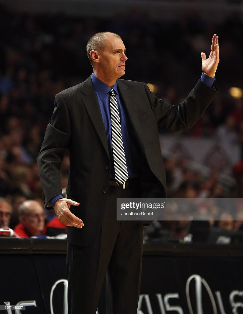 Head coach <a gi-track='captionPersonalityLinkClicked' href=/galleries/search?phrase=Rick+Carlisle&family=editorial&specificpeople=206971 ng-click='$event.stopPropagation()'>Rick Carlisle</a> of the Dallas Mavericks reacts to a call during a game against the Chicago Bulls at the United Center on November 28, 2012 in Chicago, Illinois.