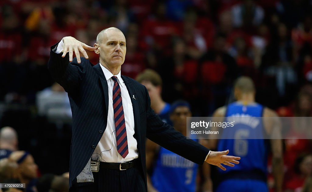 Head coach Rick Carlisle of the Dallas Mavericks reacts to a call during their game against the Houston Rockets during Game One in the Western Conference Quarterfinals of the 2015 NBA Playoffs on April 18, 2015 at the Toyota Center in Houston, Texas.