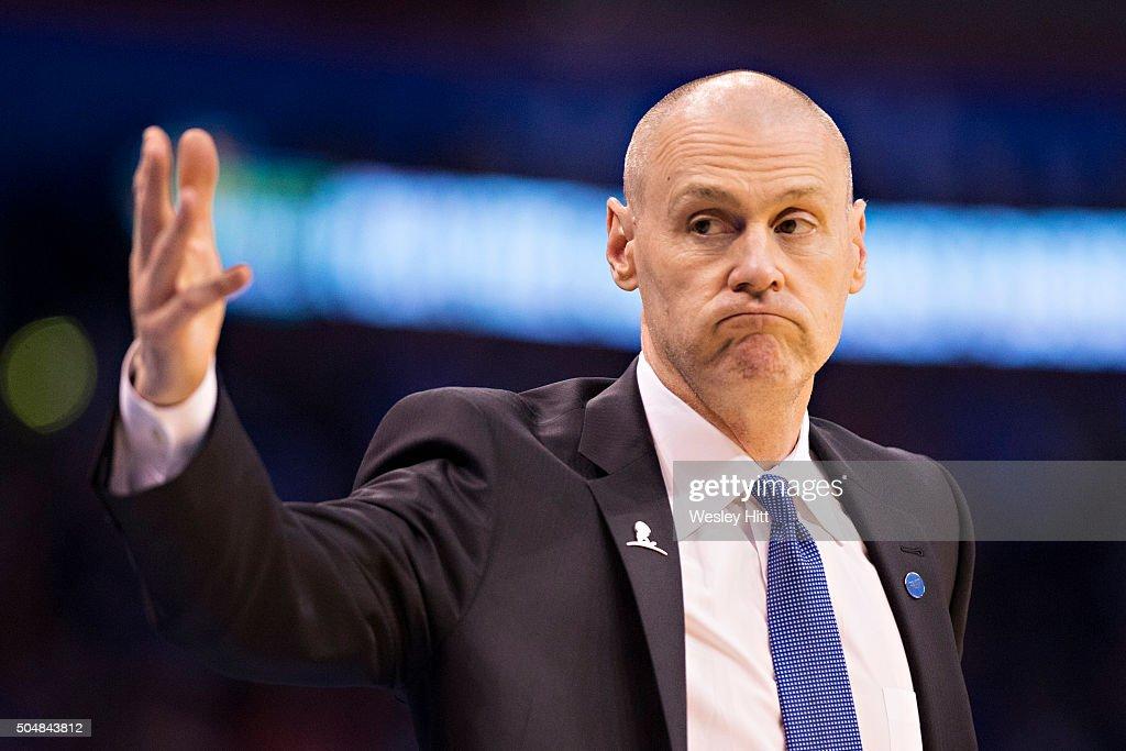 Head coach Rick Carlisle of the Dallas Mavericks signals to the bench during a game against the Oklahoma City Thunder at Chesapeake Energy Arena on January 13, 2016 in Oklahoma City, Oklahoma.