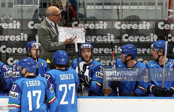 Head coach Rick Cornacchia of Italy gives instructions to players during the IIHF World Championship group C match between Italy and Latvia at SAP...