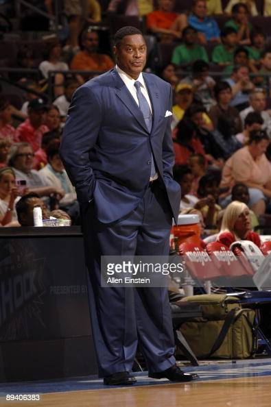 Head coach Rick Mahorn of the Detroit Shock looks on during the game against the Atlanta Dream at the Palace of Auburn Hills on July 22 2009 in...