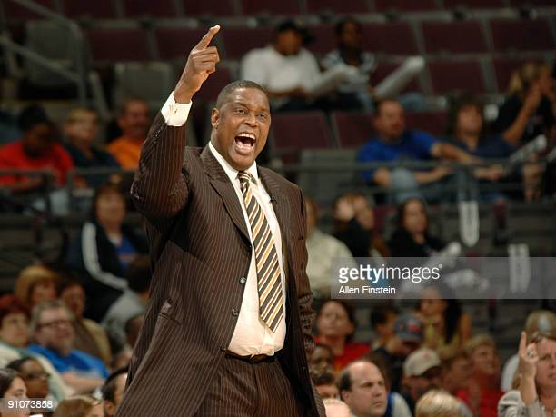 Head Coach Rick Mahorn of the Detroit Shock reacts during a game against the Indiana Fever in Game One of the WNBA Eastern Conference Finals on...
