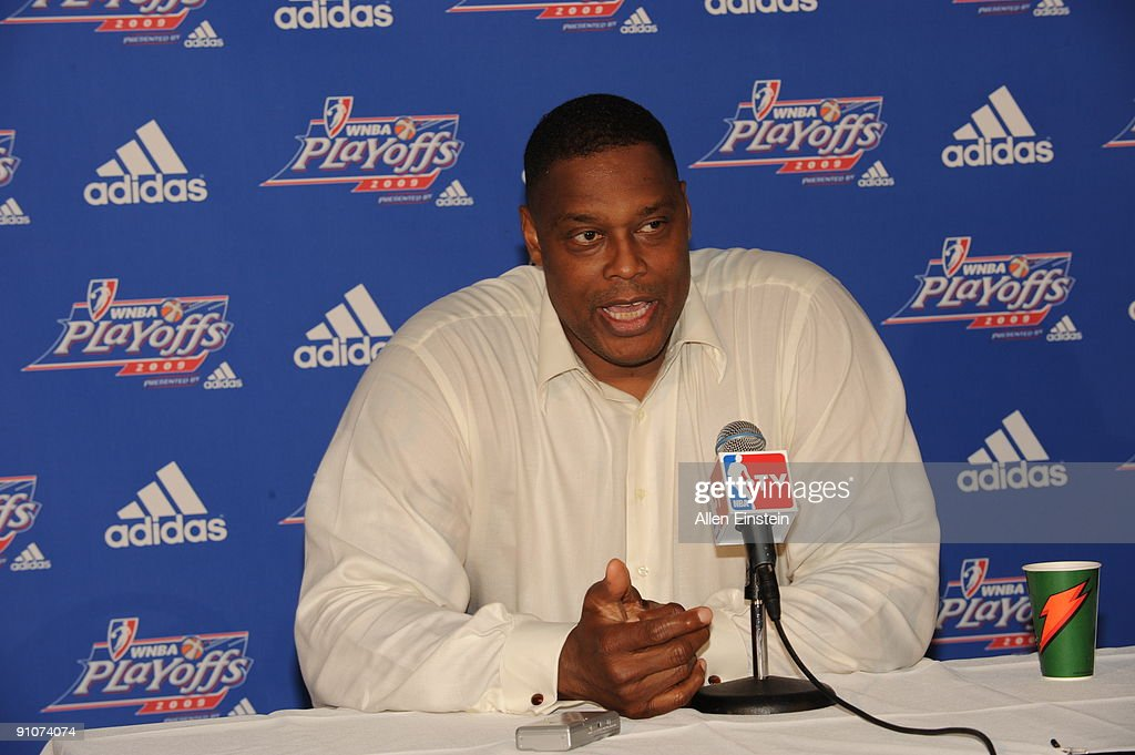 Head Coach Rick Mahorn of the Detroit Shock talks in a post game press conference after defeating the Indiana Fever in Game One of the WNBA Eastern Conference Finals on September 23, 2009 at The Palace of Auburn Hills in Auburn Hills, Michigan.