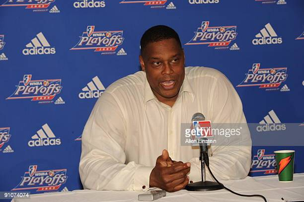 Head Coach Rick Mahorn of the Detroit Shock talks in a post game press conference after defeating the Indiana Fever in Game One of the WNBA Eastern...