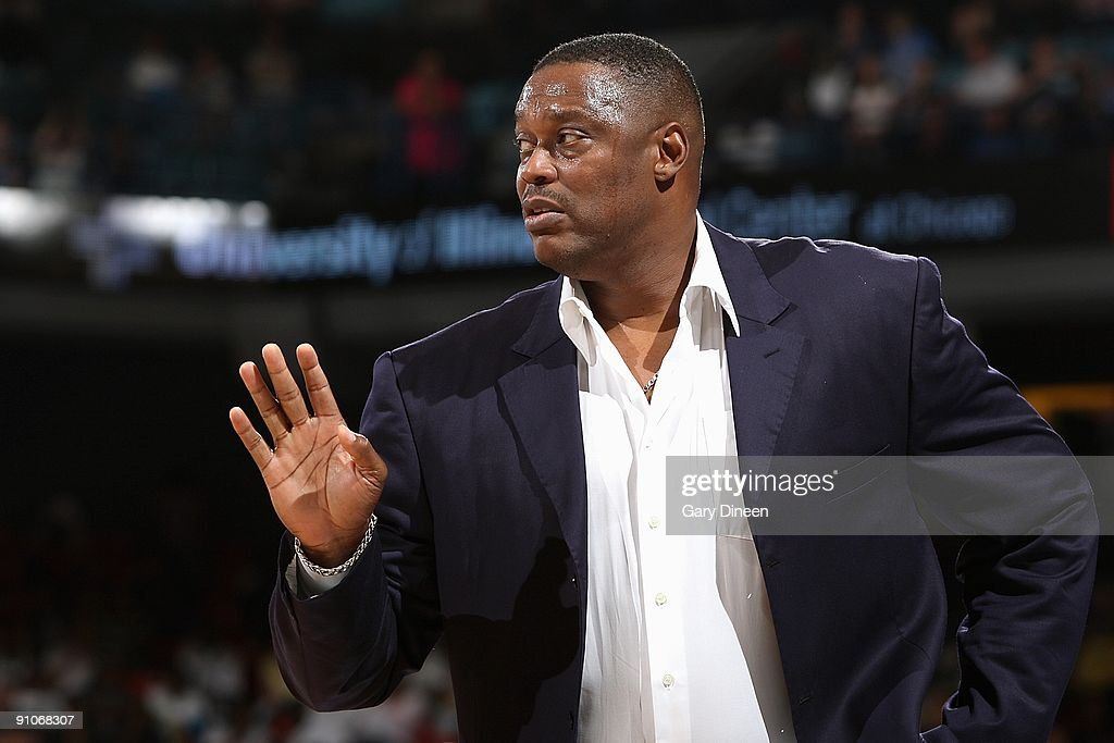 Head Coach Rick Mahorn of the Detroit Shock watches from thes sidelines during the WNBA game against the Chicago Sky on September 12, 2009 at the UIC Pavilion in Chicago, Illinois. The Shock won 80-69.