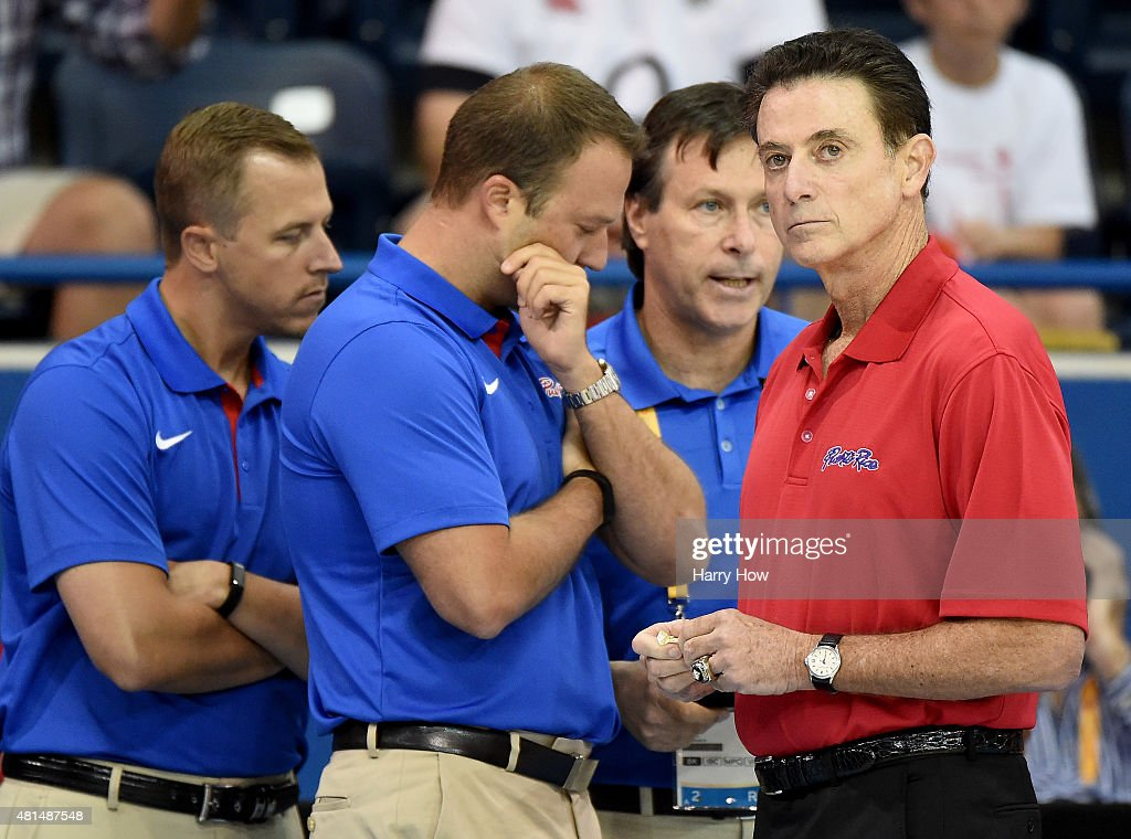 Head Coach <a gi-track='captionPersonalityLinkClicked' href=/galleries/search?phrase=Rick+Pitino&family=editorial&specificpeople=210871 ng-click='$event.stopPropagation()'>Rick Pitino</a> of Puerto Rico before the game against Brazil during the 2015 Pan Am Games at the Ryerson Athletic Centre on July 21, 2015 in Toronto, Canada.