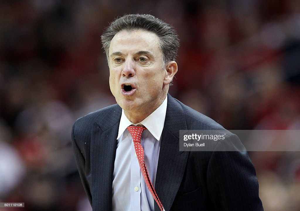 Head coach <a gi-track='captionPersonalityLinkClicked' href=/galleries/search?phrase=Rick+Pitino&family=editorial&specificpeople=210871 ng-click='$event.stopPropagation()'>Rick Pitino</a> of the Louisville Cardinals calls out instructions during the first half against the Eastern Michigan Eagles at KFC YUM! Center on December 12, 2015 in Louisville, Kentucky.
