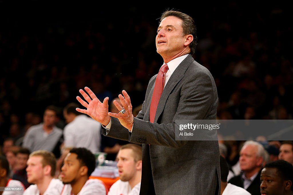 Head coach Rick Pitino of the Louisville Cardinals coaches against the Notre Dame Fighting Irish during the semifinals of the Big East Men's Basketball Tournament at Madison Square Garden on March 15, 2013 in New York City.