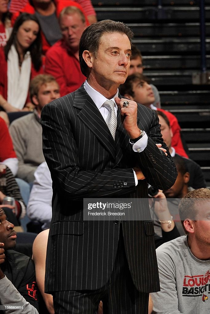 Head coach Rick Pitino of the Louisville Cardinals coaches his team against the Western Kentucky Hilltoppers at Bridgestone Arena on December 22, 2012 in Nashville, Tennessee.