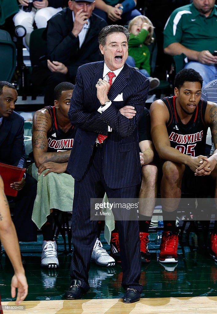 Head coach Rick Pitino of the Louisville Cardinals directs his team against the South Florida Bulls during the game at the Sun Dome on February 17, 2013 in Tampa, Florida.