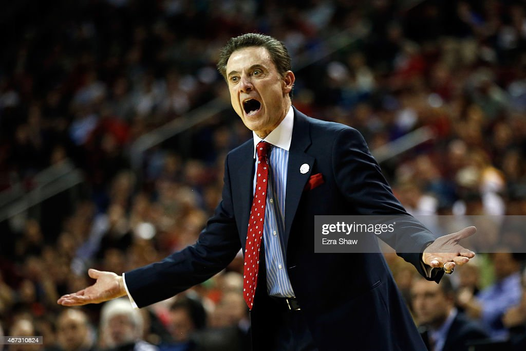 Head coach <a gi-track='captionPersonalityLinkClicked' href=/galleries/search?phrase=Rick+Pitino&family=editorial&specificpeople=210871 ng-click='$event.stopPropagation()'>Rick Pitino</a> of the Louisville Cardinals reacts against the Northern Iowa Panthers in the first half of the game during the third round of the 2015 NCAA Men's Basketball Tournament at KeyArena on March 22, 2015 in Seattle, Washington.