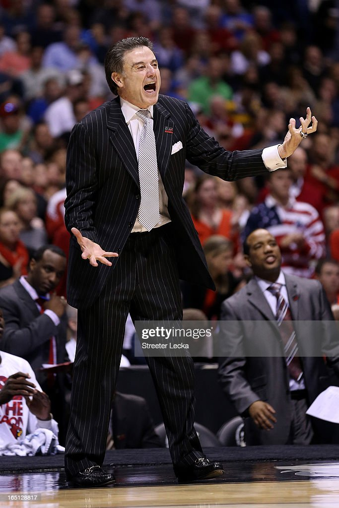 Head coach Rick Pitino of the Louisville Cardinals reacts as he coaches against the Duke Blue Devils during the Midwest Regional Final round of the 2013 NCAA Men's Basketball Tournament at Lucas Oil Stadium on March 31, 2013 in Indianapolis, Indiana.