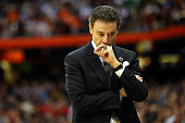 Head coach Rick Pitino of the Louisville Cardinals reacts in the first half of the game anc during the East Regional Semifinal of the 2015 NCAA Men's...