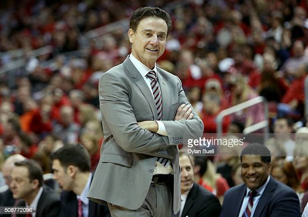 Head coach Rick Pitino of the Louisville Cardinals smiles during the second half against the Boston College Eagles at KFC Yum Center on February 6...