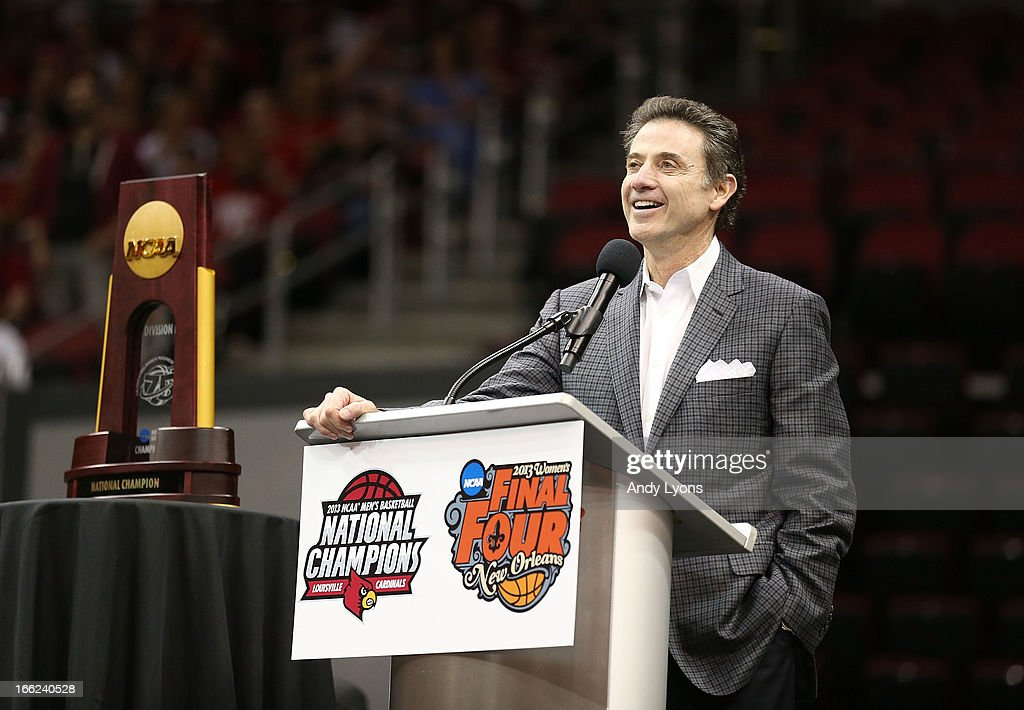 Head coach Rick Pitino of the Louisville Cardinals speaks during the Louisville Cardinals NCAA Basketball Celebration to mark the NCAA championship by the Mens team and the runner-up finish by the womens team at KFC YUM! Center on April 10, 2013 in Louisville, Kentucky.