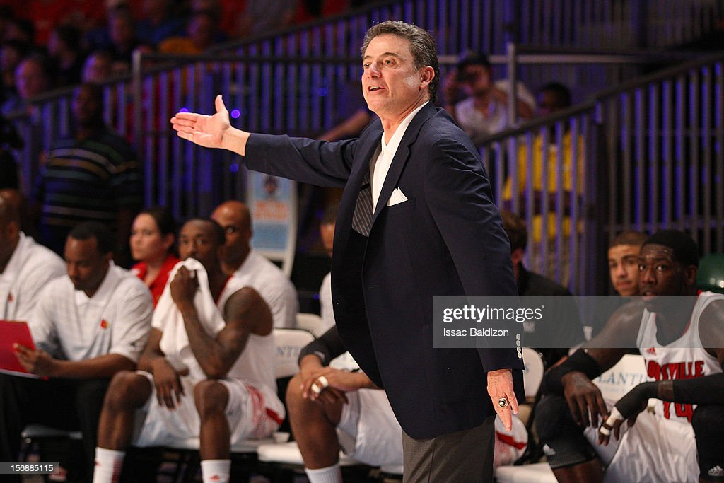 Head Coach Rick Pitino reacts to a call from the ref against the Missouri Tigers during the Battle 4 Atlantis tournament at Atlantis Resort November 23, 2012 in Nassau, Paradise Island, Bahamas.