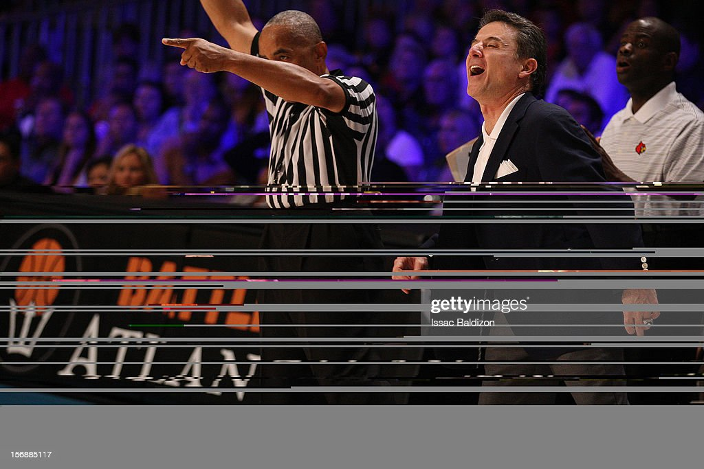 Head Coach Rick Pitino reacts to a call from the ref during the Battle 4 Atlantis tournament at Atlantis Resort November 23, 2012 in Nassau, Paradise Island, Bahamas.