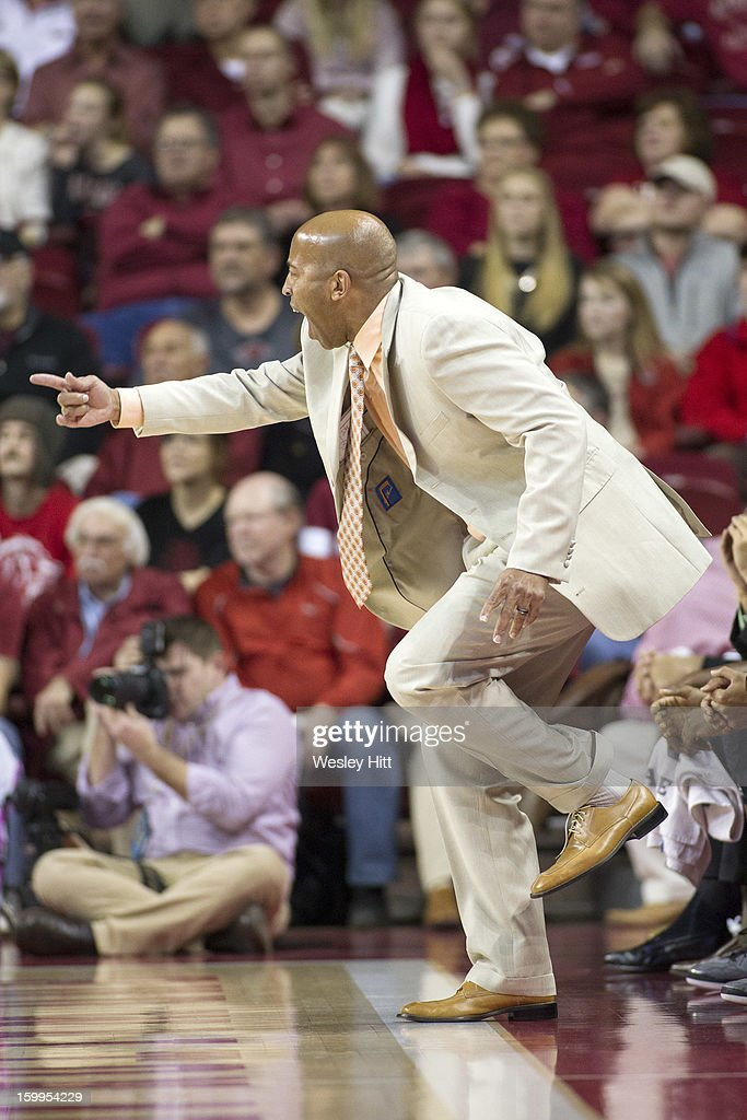 Head Coach Rick Ray of the MIssissippi State Bulldogs yells at his team during a game against the Arkansas Razorbacks at Bud Walton Arena on January 23, 2013 in Fayetteville, Arkansas. The Razorbacks defeated the Bulldogs 96-70.