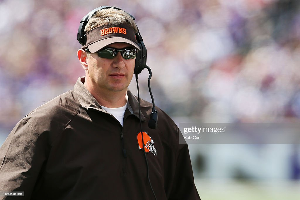 Head coach Rob Chudzinski of the Cleveland Browns looks on from the sidleines during the second half of their 14-6 loss to the Baltimore Ravens at M&T Bank Stadium on September 15, 2013 in Baltimore, Maryland.