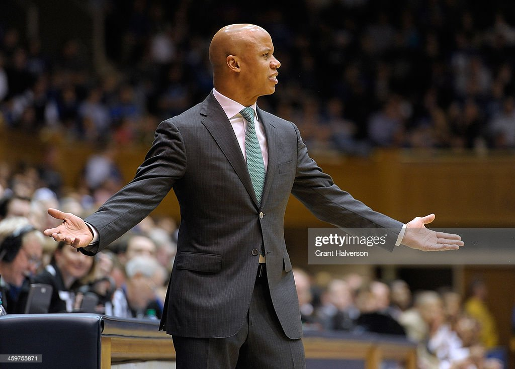 Head coach Rob Murphy of the Eastern Michigan Eagles directs his team against the Duke Blue Devils during their game at Cameron Indoor Stadium on December 28, 2013 in Durham, North Carolina. Duke won 82-59.