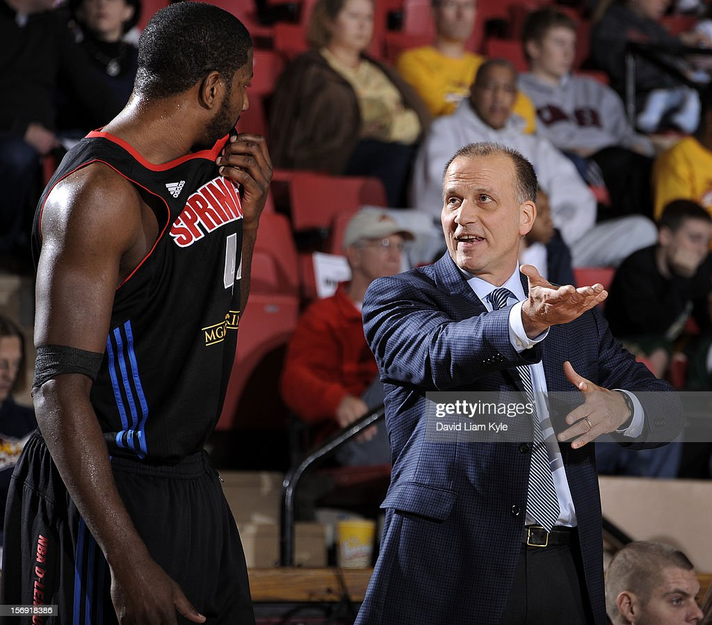 Head coach Robert MacKinnon of the Springfield Armor discusses the play with James Mays #44 in the game against the Canton Charge at the Canton Memorial Civic Center on November 24, 2012 in Canton, Ohio.