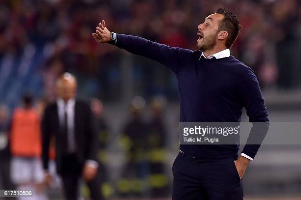 Head coach Roberto De Zerbi of Palermo issues instructions during the Serie A match between AS Roma and US Citta di Palermo at Stadio Olimpico on...