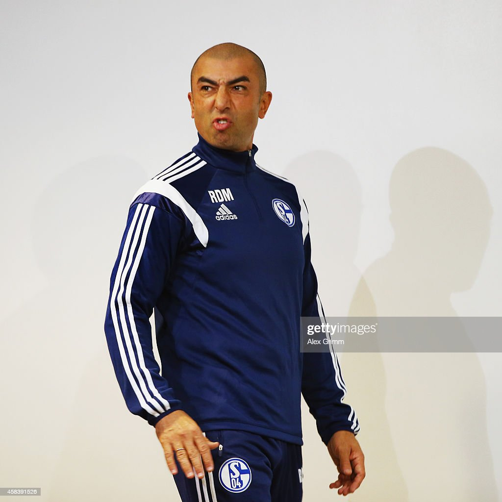 Head coach Roberto di Matteo frowns as he arrives for a FC Schalke 04 press conference ahead of their UEFA Champions League Group G match against Sporting Club de Portugal at Estadio Jose Alvalade on November 4, 2014 in Lisbon, Portugal.