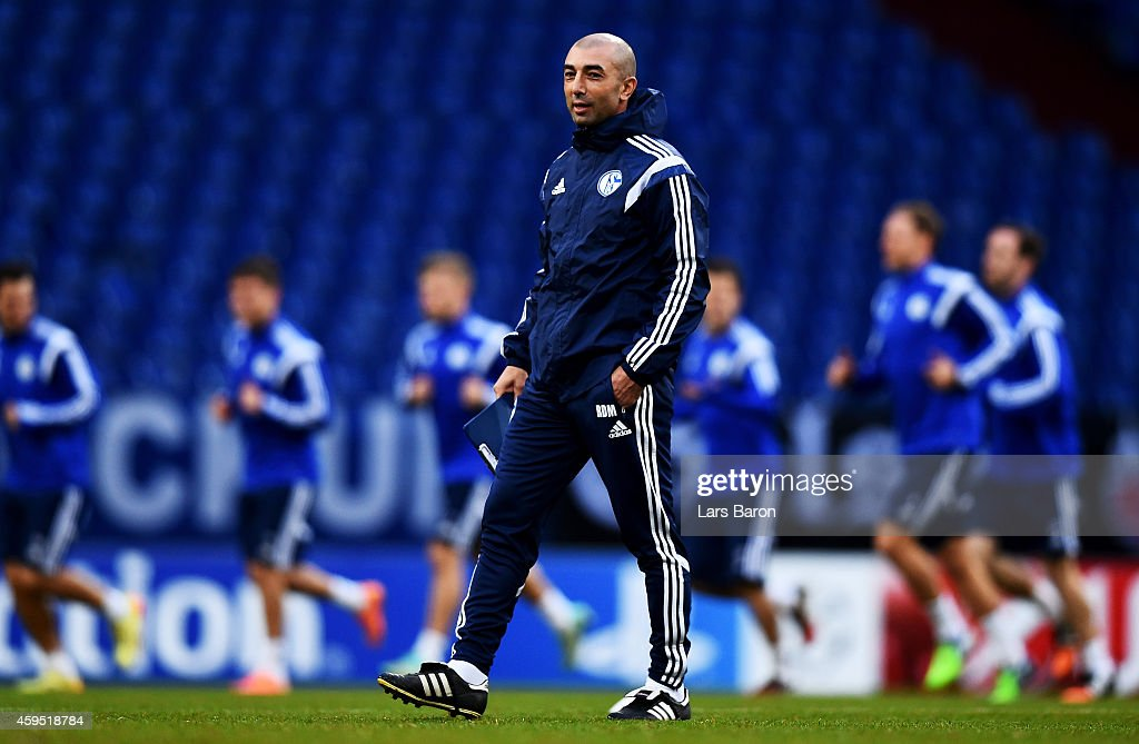Head coach Roberto di Matteo is seen during a FC Schalke 04 training session prior to their UEFA Champions League match against Chelsea FC at Veltins Arena on November 24, 2014 in Gelsenkirchen, Germany.