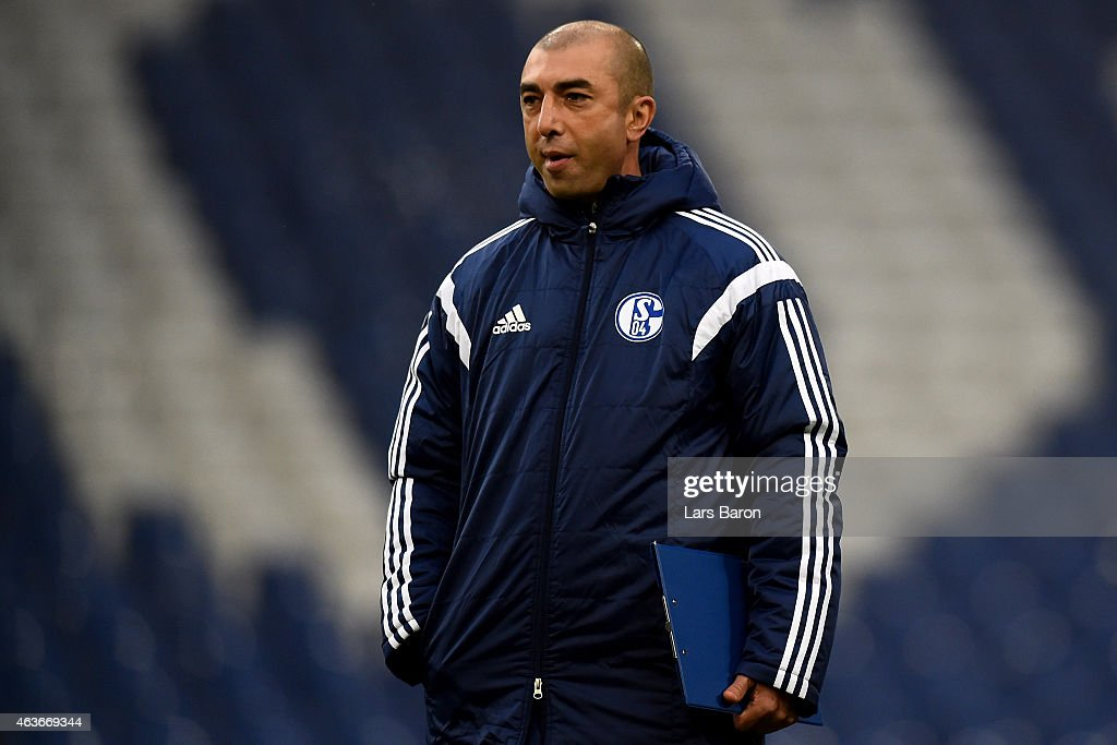 Head coach Roberto di Matteo is seen during a FC Schalke 04 training session prior to their UEFA Champions League match against Real Madrid at Veltins Arena on February 17, 2015 in Gelsenkirchen, Germany.